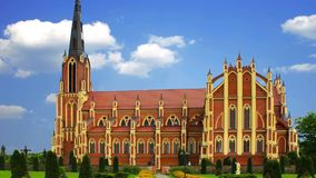 Ancient Gothic church in Gervyaty in Belarus.  stock video