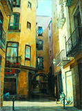 Ancient gothic quarter of barcelona, painting Royalty Free Stock Images