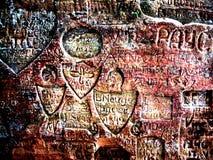 Ancient Graffiti. Photo taken of graffiti carved into Gautmanis Cave near Sigulda in Latvia stock photography