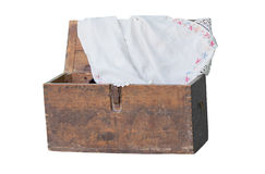 An ancient grandmother's wooden box Stock Photography