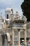 Ancient grave remains at Nice Castle Cimetery, France stock image