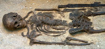 Ancient grave with sword Royalty Free Stock Photo