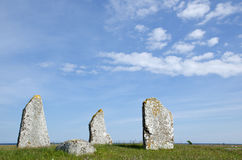 Ancient graves. In scandinavia with blue sky and low perspective Stock Photo