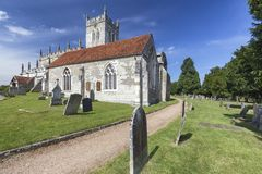 Ancient Graves. Ancient grave stones at the Saxon Sanctuary Church in Wootton Wawen, England royalty free stock image