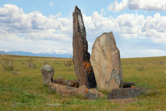 Ancient gravestones in the steppes of the Altai Stock Photo