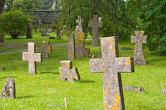 The ancient graveyard. Ancient cemetery near the monastery Royalty Free Stock Photography