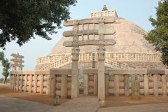 Ancient Great Stupa in Sanchi,India Royalty Free Stock Image
