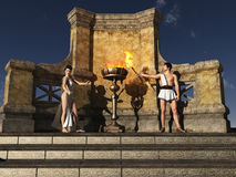 Ancient Grecian flame lighting ceremony. Flame has sacred connotations for the ancient Greeks who believe it had been stolen from Zeus by Prometheus.  A constant Royalty Free Stock Images
