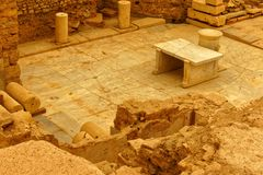 Ancient Greco-Roman Domestic Room. Partially restored room floor and walls photographed in a house in the ruined Greco-Roman city of Ephesus stock image