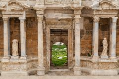 Ancient Greco-Roman Theater in ancient city Hierapolis near Pamukkale, Turkey Stock Photo