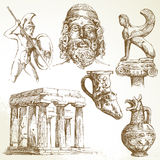 Ancient greece. Hand drawn set vector illustration