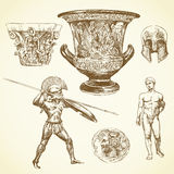 Ancient greece. Hand drawn collection stock illustration