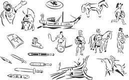 Ancient Greece. 20 themed EPS images related to ancient Greece. The number of vector nodes is absolute minimum. The images are very easy to use and edit and are royalty free illustration