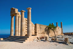 Ancient greece. Ancient temple in Lindos. Rhodes, Greece stock photo