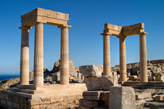 Ancient greece. Ancient columns in Lindos. Rhodes, Greece royalty free stock image