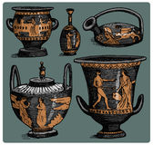 Ancient Greece, antique amphora set, vase with life scenes vintage, engraved hand drawn in sketch or wood cut style, old Royalty Free Stock Photo
