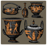 Ancient Greece, antique amphora set, vase with life scenes vintage, engraved hand drawn in sketch or wood cut style, old Royalty Free Stock Photos