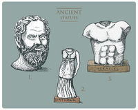 Ancient Greece, antique sculptures of athena, socratus and hercules, heracles vintage, engraved hand drawn in sketch or. Wood cut style, old looking retro stock illustration