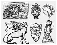 Ancient Greece, antique symbols Ganymede and eagle anphora, vase, athena statue and satyr mask vintage, engraved hand Royalty Free Stock Photography