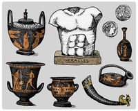 Ancient Greece, antique symbols, greek coins, heracles sculpture, anphora vintage, engraved hand drawn in sketch or wood Royalty Free Stock Images