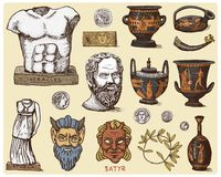 Ancient Greece, antique symbols Socrates head, laurel wreath, athena statue and satyr face with coins, amphora, vase Royalty Free Stock Images