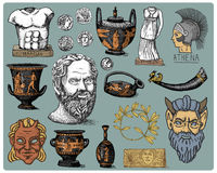 Ancient Greece, antique symbols Socrates head, laurel wreath, athena statue and satyr face with coins, amphora, vase Royalty Free Stock Photo