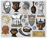 Ancient Greece, antique symbols Socrates head, laurel wreath, athena statue and satyr face with coins, amphora, vase Royalty Free Stock Photos