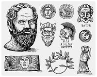 Ancient Greece, antique symbols Socrates head, laurel wreath, athena statue and satyr face with coins vintage, engraved Royalty Free Stock Photography