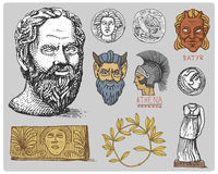 Ancient Greece, antique symbols Socrates head, laurel wreath, athena statue and satyr face with coins vintage, engraved Stock Photography