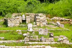Ancient Greece city Dion. Ruins of Sanctuary to Zeus. Archaeological park of sacred city of Macedon. stock photos