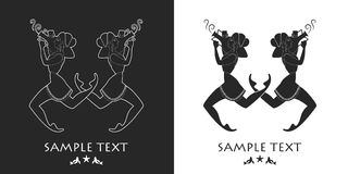 Ancient Greece girls carrying an amphora. Silhouette Stock Photography