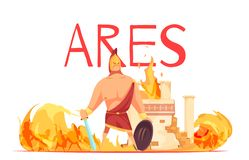 Ancient Greece God Ares. Ancient greece olympian god of war ares in helmet with sword amidst battle flat cartoon vector illustration royalty free illustration