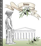 Ancient greece icon set. Sculpture and building Stock Photo