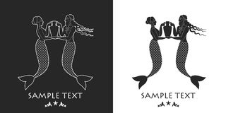 Ancient Greece mermaid and triton carrying an amphora. Mediterranean mythology Royalty Free Stock Photos