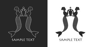 Ancient Greece mermaids or sirens carrying amphora. Mediterranean mythology Stock Photo