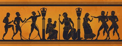 Free Ancient Greece Mythology. Antic History Black Silhouettes Of People And Gods On Pottery. Vector Archeology Pattern Royalty Free Stock Photos - 166725078