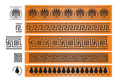 Ancient Greece ornament design element. Ancient Greece ornament, octant, meander, decor from the ancient Greek ceramic pottery vase painting, architecture and stock illustration