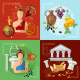 Ancient Greece and Rome tradition and culture. Vector set collection Stock Image