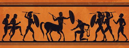 Free Ancient Greece Scene. Historic Mythology Silhouettes With Gods And Centaurs, Figures And Pattern For Ancient Amphora Royalty Free Stock Image - 165469206