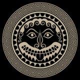 Ancient Greece Shield with Gorgon Medusa head. Isolated on black, vector illustration vector illustration