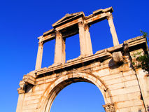 Ancient Greece. Upward view of the ancient Hadrian's Arch, Athens. Greece Royalty Free Stock Images