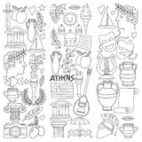 Ancient Greece Vector elements in doodle style for coloring pages Travel, history, music, food, wine Stock Photo