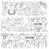 Ancient Greece Vector elements in doodle style for coloring pages Travel, history, music, food, wine Stock Images