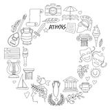 Ancient Greece Vector elements in doodle style for coloring pages Travel, history, music, food, wine Stock Photography