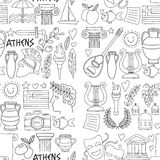 Ancient Greece Vector elements in doodle style for coloring pages Travel, history, music, food, wine. Ancient Greece Vector elements in doodle style for coloring royalty free illustration