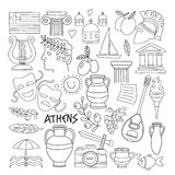 Ancient Greece Vector elements in doodle style for coloring pages Travel, history, music, food, wine. Ancient Greece Vector elements in doodle style for coloring vector illustration