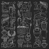 Ancient Greece Vector elements in doodle style Travel, history, music, food, wine. Hand drawn image stock illustration