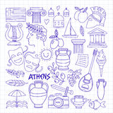Ancient Greece Vector elements in doodle style Travel, history, music, food, wine. Hand drawn image royalty free illustration