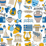 Ancient Greece Vector elements in doodle style Travel, history, music, food, wine Royalty Free Stock Image