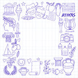 Ancient Greece Vector elements in doodle style Travel, history, music, food, wine Stock Photography